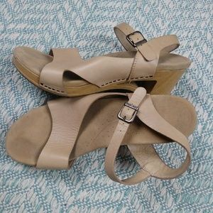 Dansko Tan Cutout Heel Sandals. Size 41